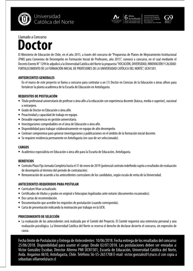Llamado A Concurso Doctor Sociedad De Bioquimica Y Biologia