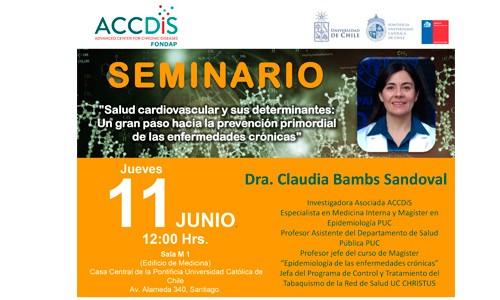 """SEMINARIO ACCDiS """"Salud cardiovascular y sus determinantes: Un gran paso hacia la prevención primordial de las enfermedades crónicas"""""""