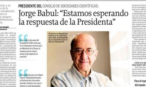"""Jorge Babul: """"Estamos esperando la respuesta de la Presidenta"""" – Entrevista Diario El Sur"""