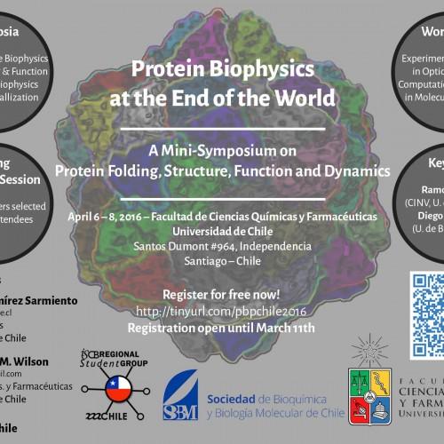 Simposio Protein Biophysics at the End of the World – 6 al 8 de Abril – Universidad de Chile