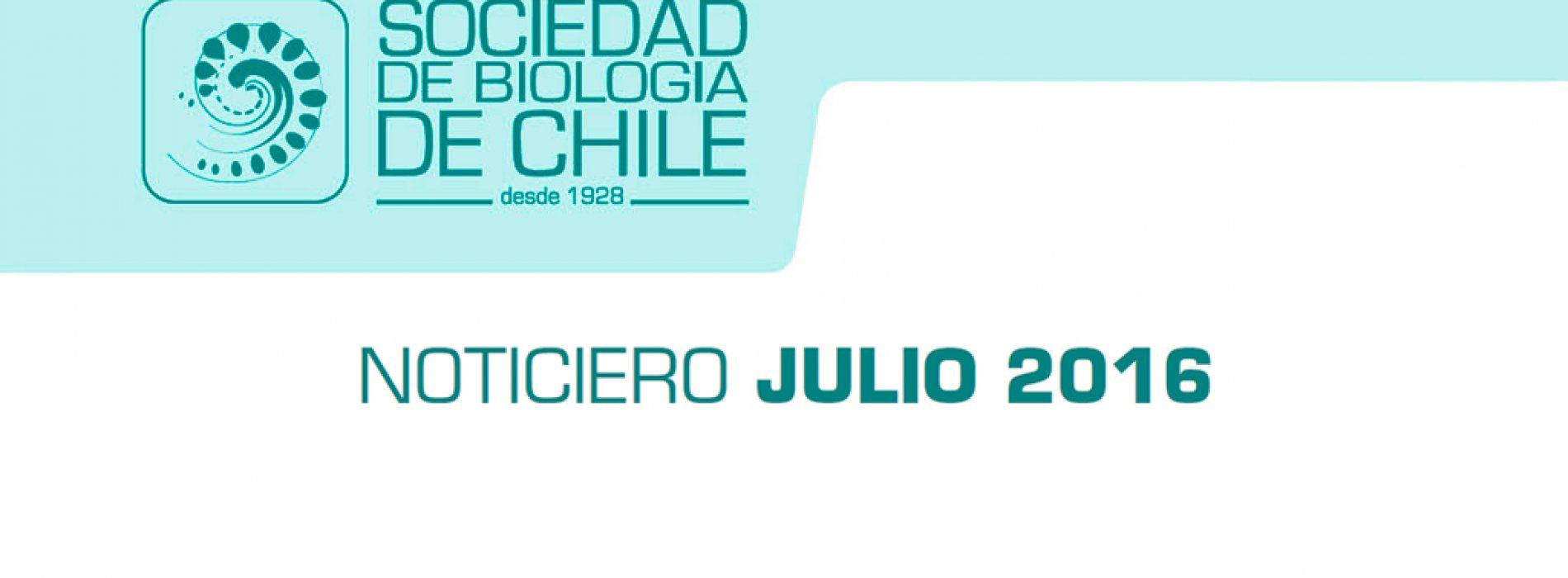 Noticiero Julio 2016. Sociedad de Biología de Chile