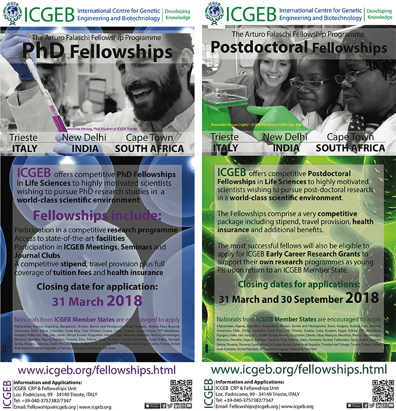 ICGEB PhD and Post-doctoral Fellowships – 2018 CALL NOW OPEN