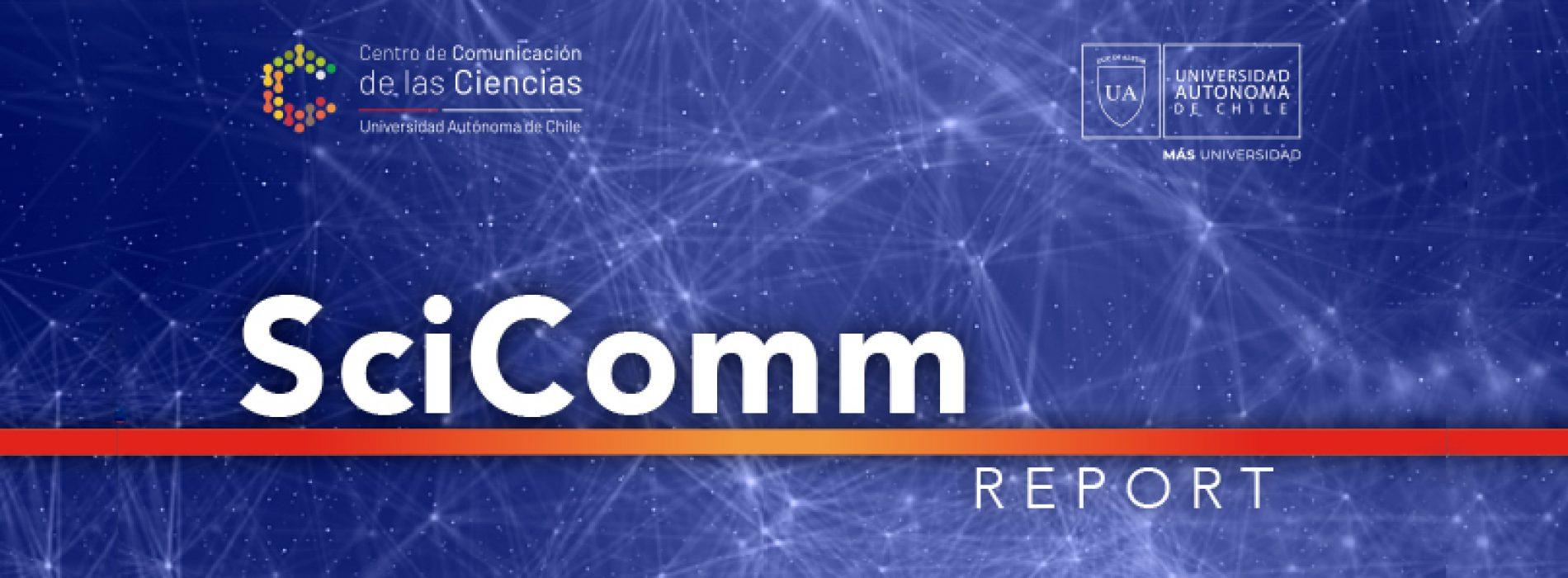 Brochure SciComm Report, órgano oficial del Centro de Comunicación de las Ciencias de la Universidad Autónoma de Chile.