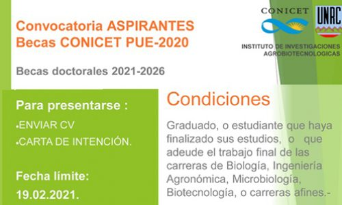 Call for CONIVET PUE-2020 Scholarships